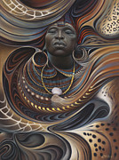 Earth Tones Metal Prints - African Spirits I Metal Print by Ricardo Chavez-Mendez