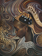 Earth Tones Metal Prints - African Spirits II Metal Print by Ricardo Chavez-Mendez