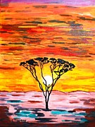 Featured Drawings Framed Prints - African Sun Framed Print by Lynette  Swart