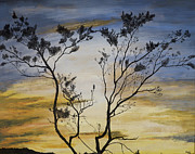 Pen And Ink Drawing Painting Metal Prints - African Sunset Metal Print by Stuart Engel