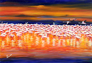 Flamingo Paintings - African Sunset by Tal Alperovitch