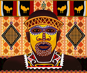 African Mixed Media Framed Prints - African Tribesman 2 Framed Print by Bedros Awak