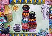 Africa Paintings - African Village Life by Sylvie Heasman