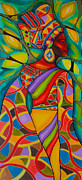 Jewelry Tapestries - Textiles Prints - African Woman Caye Caulker Belize Print by Lee Vanderwalker