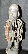 Carving Sculpture Metal Prints - African wood carving with nail fetish Metal Print by Anonymous