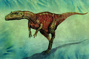 Prehistoric Digital Art - Afrovenator dinosaur by World Art Prints And Designs