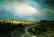 High Society Painting Prints - After a rain country road 1869 Print by MotionAge Art and Design - Ahmet Asar