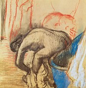 Showering Posters - After Bath Poster by Edgar Degas