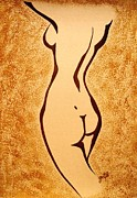 Naked Originals - After Bath original coffee painting by Georgeta  Blanaru