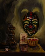 Chess Queen Painting Posters - After Dark Games Poster by Grace Diehl