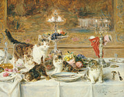 Cute Cat Prints - After Dinner Guests Print by Louis Eugene Lambert