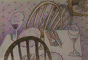 Water Drawings Prints - After Dinner Print by Larry Preston