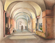 Monks Drawings - After Eckersbergs The Cloisters by Juan Pablo Ruiz