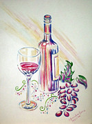 Red Wine Drawings Posters - After Hours Poster by Catherine Henningham Puttick