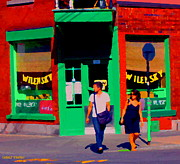 After Lunch At Wilenskys Restaurant Crossing Fairmount Montreal Street Scene Art Carole Spandau Print by Carole Spandau