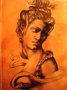 Medusa Drawings Metal Prints - After michaelangelo Metal Print by Paulo Leal