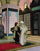 Arab Painting Prints - After Prayers at the Mosque Print by Rudolphe Ernst
