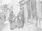 Old Ladies Drawings - After Prayers by Baruch Y Lebovits