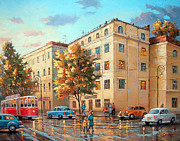 Crosswalk Painting Posters - After rain Poster by Dmitry Spiros