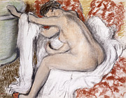 Brown Pastels Metal Prints - After the Bath Woman Drying Herself Metal Print by Edgar Degas