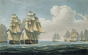 Sailing Ship Drawings Framed Prints - After the Battle of Trafalgar Framed Print by Thomas Whitcombe