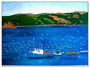 Boats In Water Paintings - After the Catch Impressionistic by Barbara Griffin