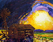 Prairie Sunset Paintings - After the Dust Clears - the Prairie by Paris Wyatt Llanso