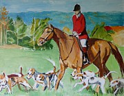 Hunt Painting Framed Prints - After the Fox Framed Print by Judy Kay