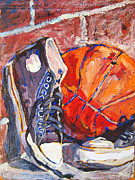 Basketball Sports Mixed Media Prints - After the Game Print by Yvonne Gaudet