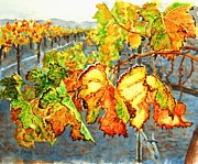 Autumn Vineyards Paintings - After the Harvest by Karen Ilari