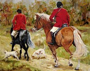 Horses Paintings - After The Hunt by Diane Kraudelt
