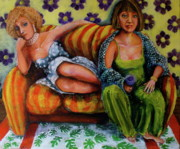 Purple Couch Posters - After The Party Poster by Outre Art Stephanie Lubin