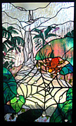 Leaf Glass Art Posters - After the Rain Poster by Christine Alexander