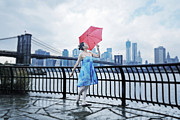 Brooklyn Bridge Prints - After the rain Print by Mayumi Yoshimaru