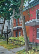 Old Neighbourhood Art - After the Rain Montreal by Rita-Anne Piquet