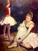Ballet Dancers Painting Framed Prints - After the rehearsal Framed Print by Hilarie Couture