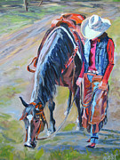 Cowgirl And Cowboy Painting Originals - After the Ride by Anne West