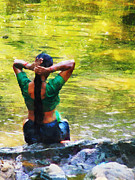 Best-selling Prints - After the River Bathing. Indian Woman. Impressionism Print by Jenny Rainbow