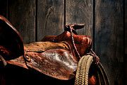 Saddle Metal Prints - After the Round Up Metal Print by Olivier Le Queinec