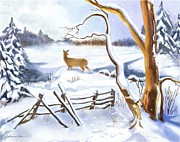 Winter Scene Digital Art Prints - After the Storm Print by Joan A Hamilton