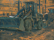 Bulldozers Framed Prints - After Work Framed Print by Donald Maier