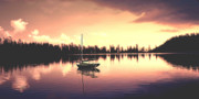 Sailboat Art Metal Prints - AFTERGLOW  sunset on lake sailboat panoramic picture Metal Print by John Samsen