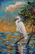 Crane Painting Originals - Afternoon Egret by Linda Olsen