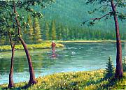 Fly Fisherman Paintings - Afternoon Fishing by Rick Hansen