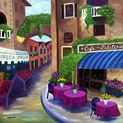 European Street Scene Paintings - Afternoon Gelato by Gary Dodd