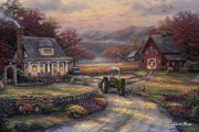 Roads Prints - Afternoon Harvest Print by Chuck Pinson