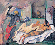 Naples Paintings - Afternoon in Naples by Paul Cezanne