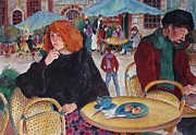 Paris Cafe Scene Posters - Afternoon in Paris Poster by Sherri Crabtree