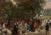Crowds Paintings - Afternoon in the Tuileries Gardens by Adolph Friedrich Erdmann von Menzel