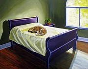 Sleeping Dog Pastels Posters - Afternoon Nap Poster by Carol OMalley